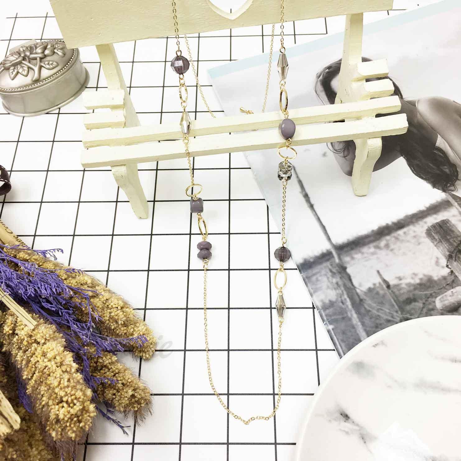 韓國 時尚個性 灰色寶石 質感串珠 長項鍊