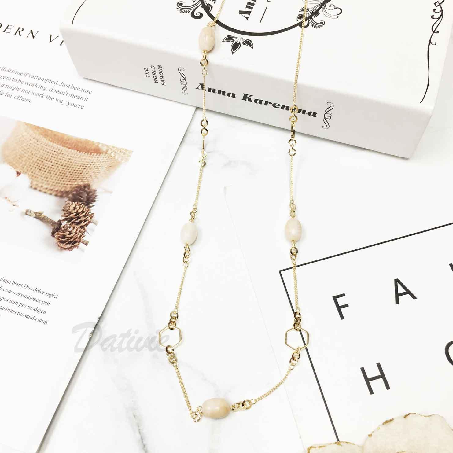 韓國 簡約大方 大理石白色串珠 質感 長項鍊