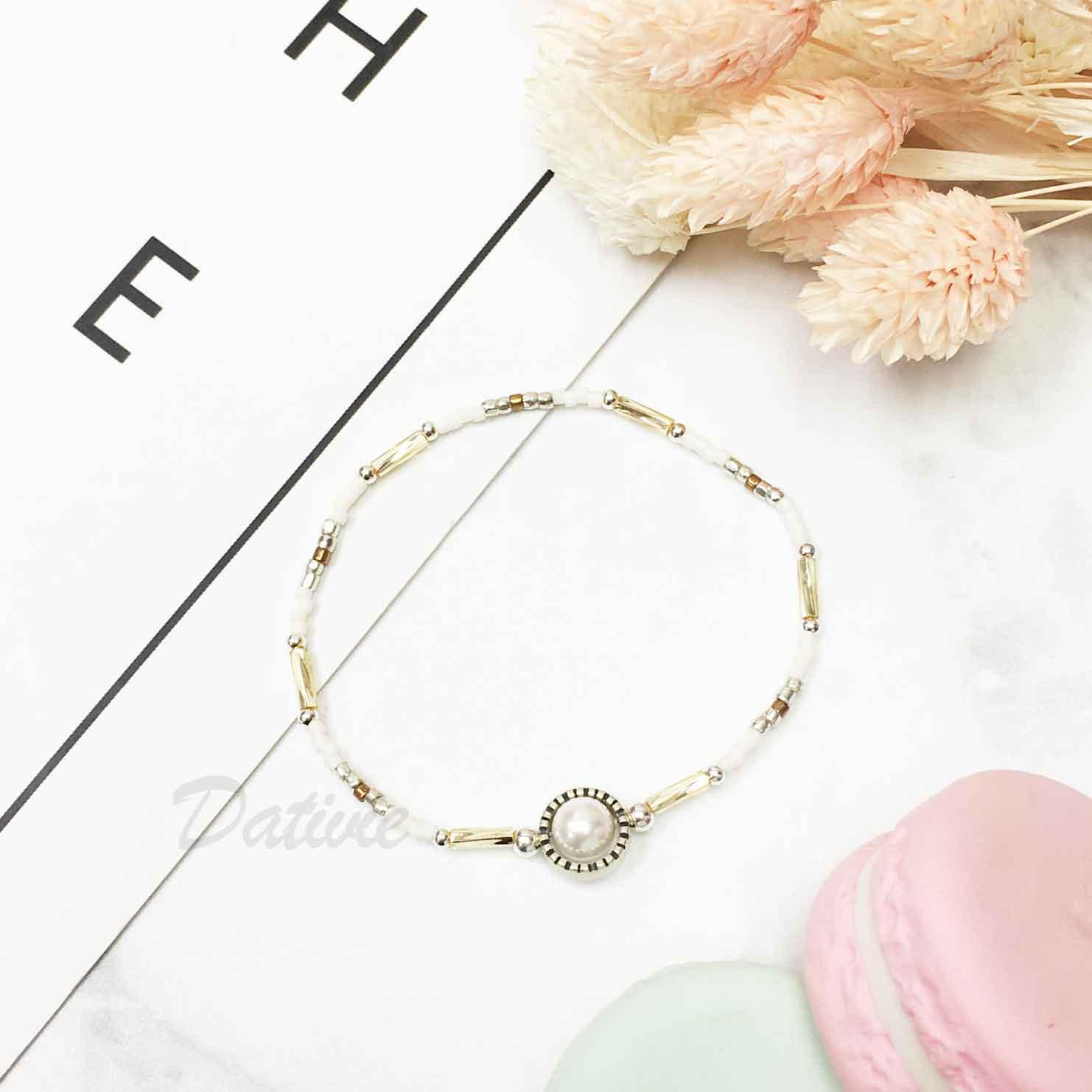 韓國 925純銀 復古 寶石 串珠 細手鍊 華麗質感
