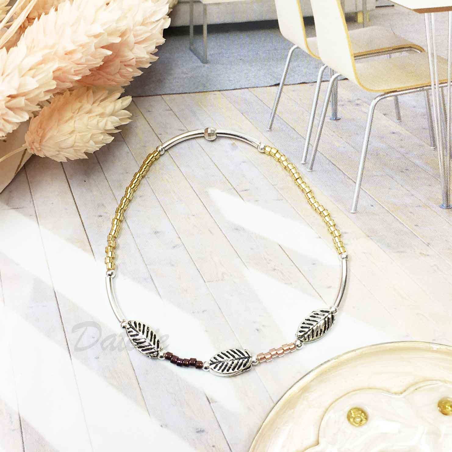 韓國 925純銀 復古 葉片 金色 串珠 細鍊 手環