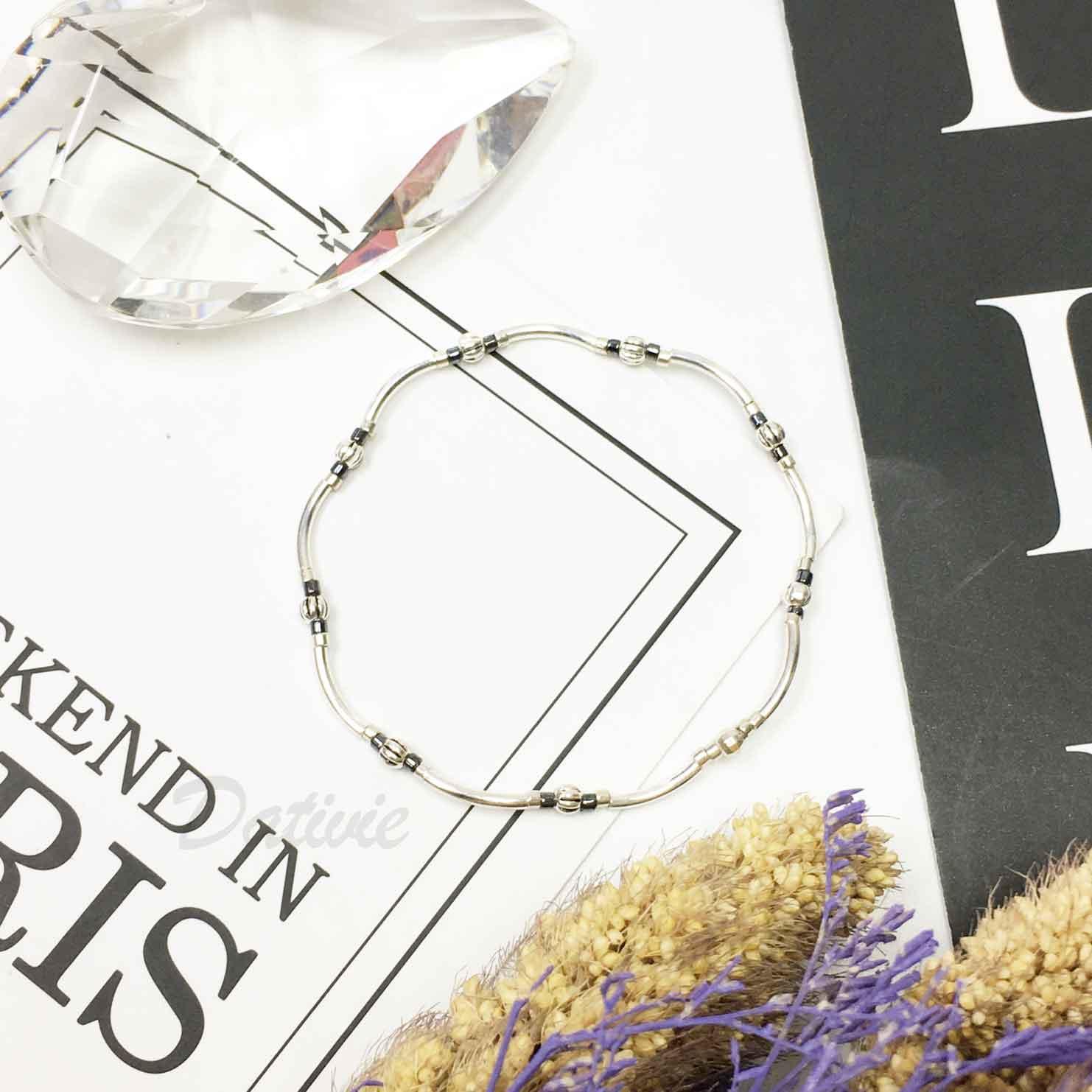 韓國 925純銀 簡約 復古 串珠 細鍊 手環