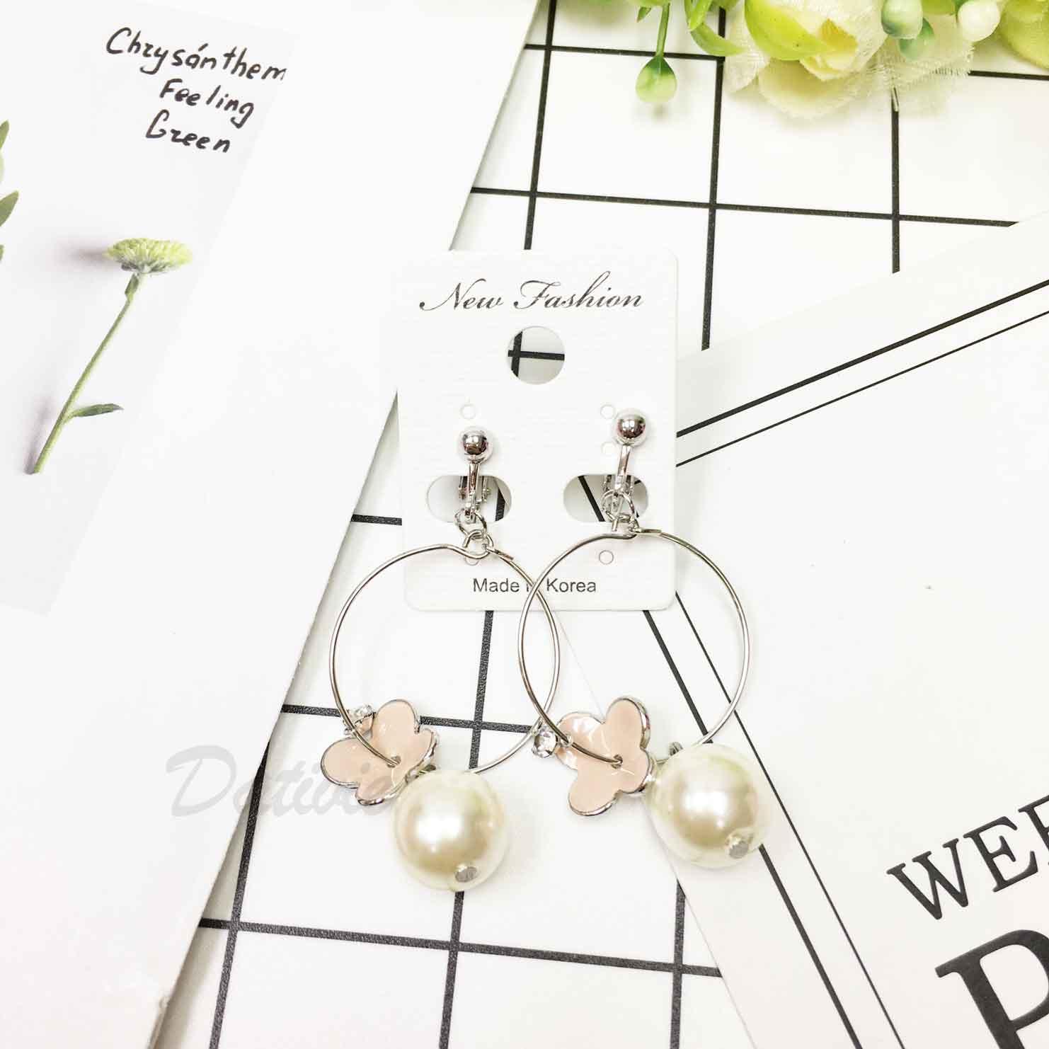 韓國 大圓 氣質 珍珠 花朵 馬卡龍色 可愛風夾式耳環