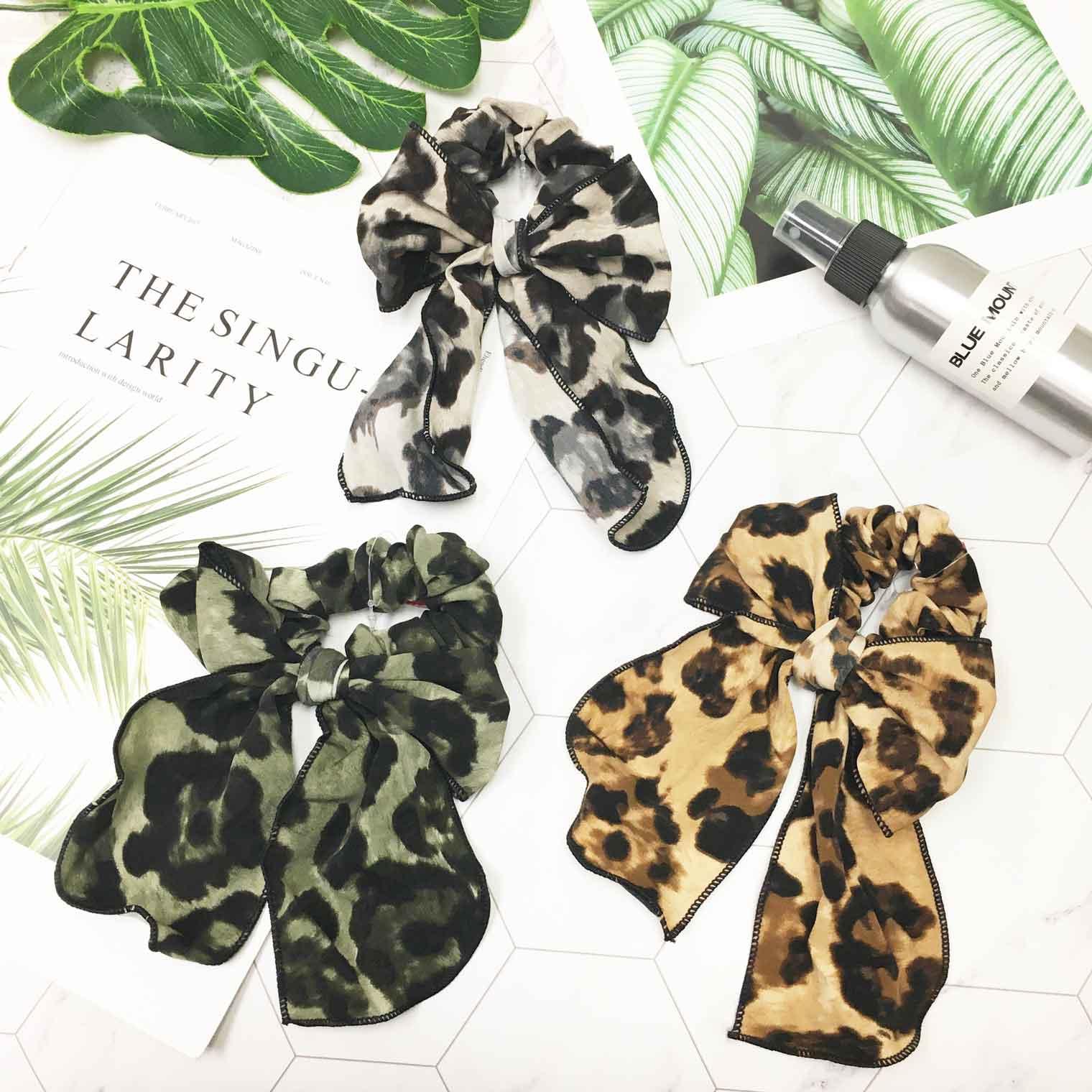 韓國 豹紋 個性 流行新款 秋冬新色 蝴蝶結髮圈