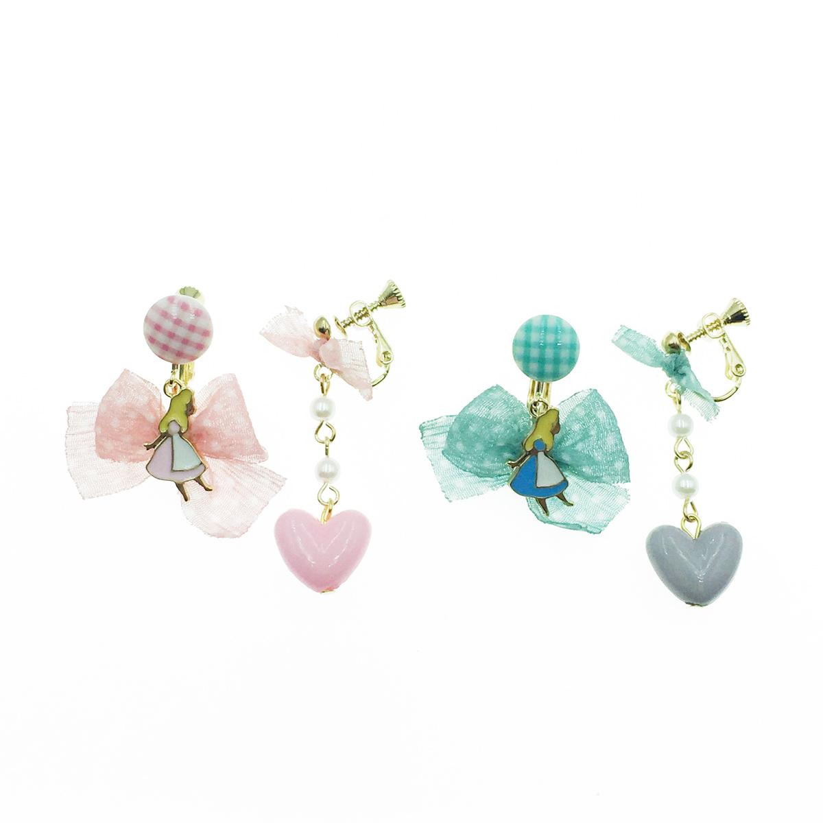 韓國 可愛 愛心 蝴蝶結 繽紛 愛麗絲夾式垂墜耳環
