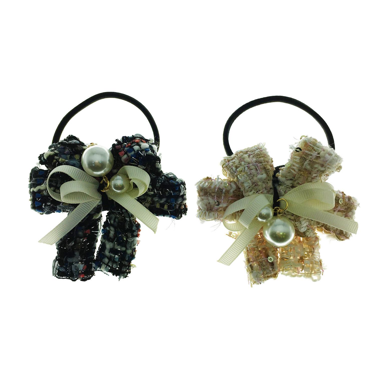 韓國 蝴蝶結 珍珠 水鑽 混色毛呢 可愛氣質 緞帶 新款造型髮束
