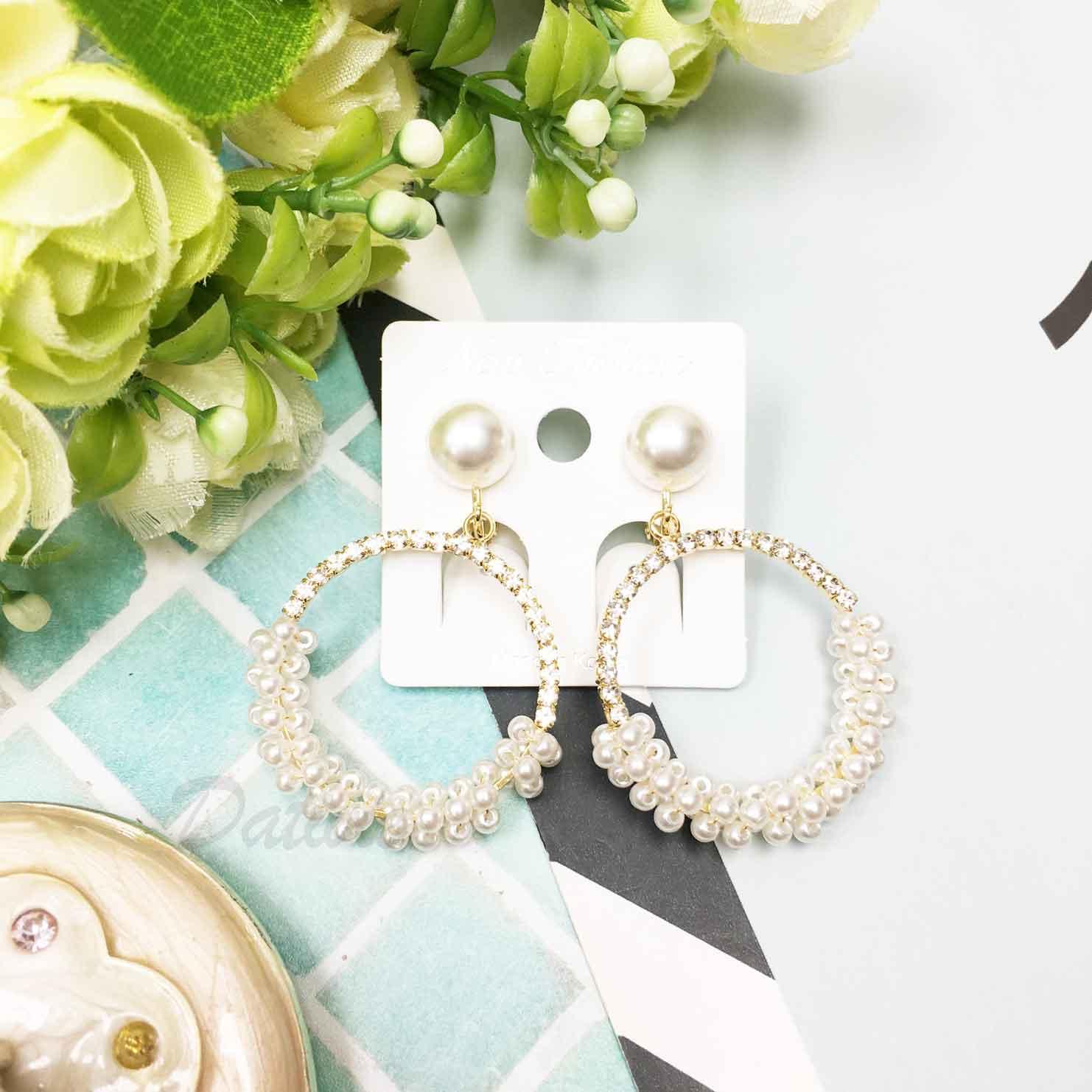 韓國 大圓 珍珠水鑽 歐美風 氣質可愛 簡約 百搭夾式耳環