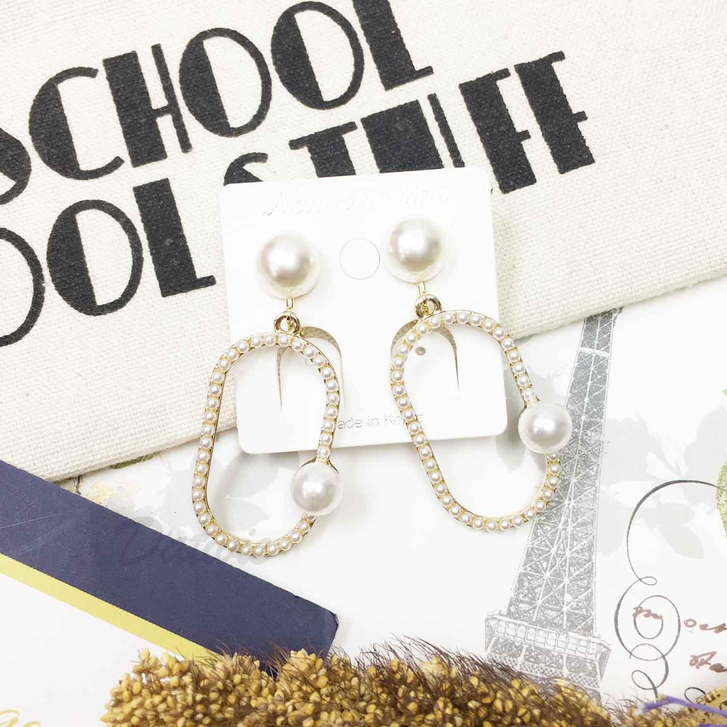 韓國 長圓形串 幾何 大小珍珠 立體造型 質感夾式耳環