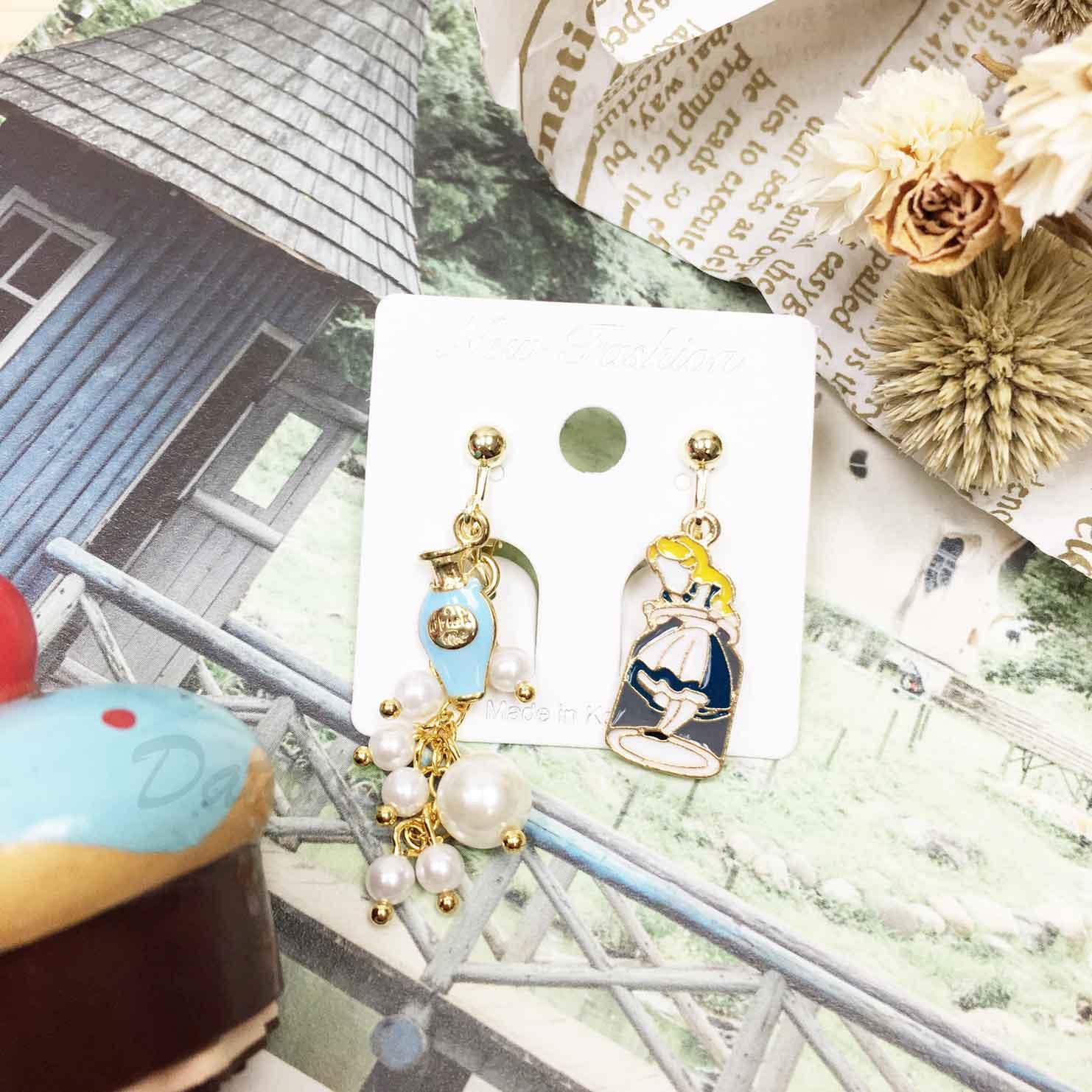 韓國 童話愛麗絲 立體造型 可愛 質感 珍珠 夾式耳環