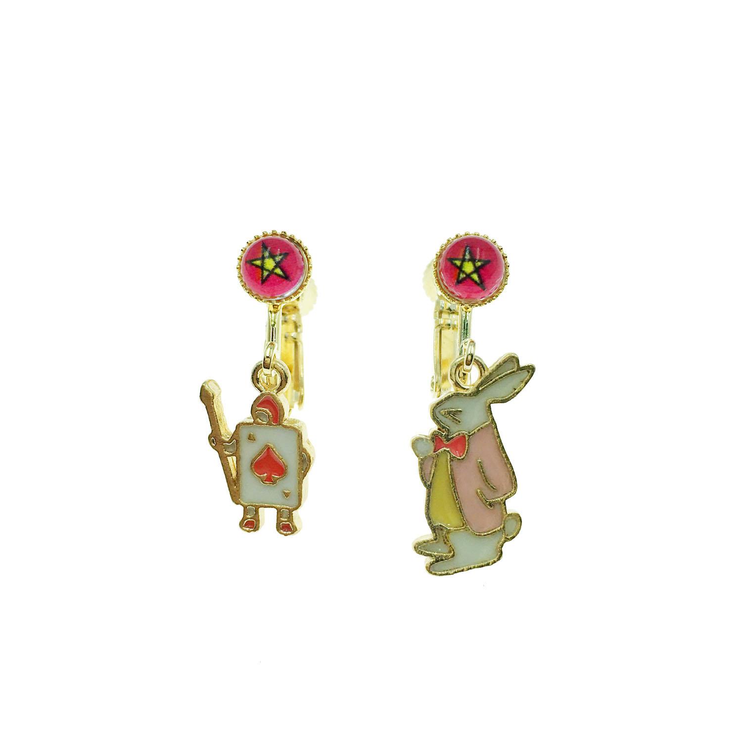 韓國 愛麗絲系列 撲克牌 小兔 五芒星  可愛立體造型夾式耳環