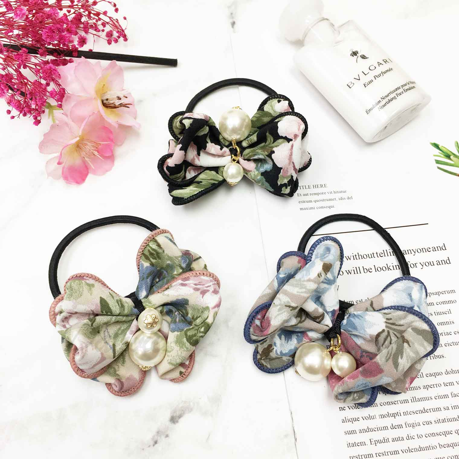 繽紛花朵 透明蕾絲 質感 氣質 珍珠 垂墜 層次蝴蝶結造型髮束