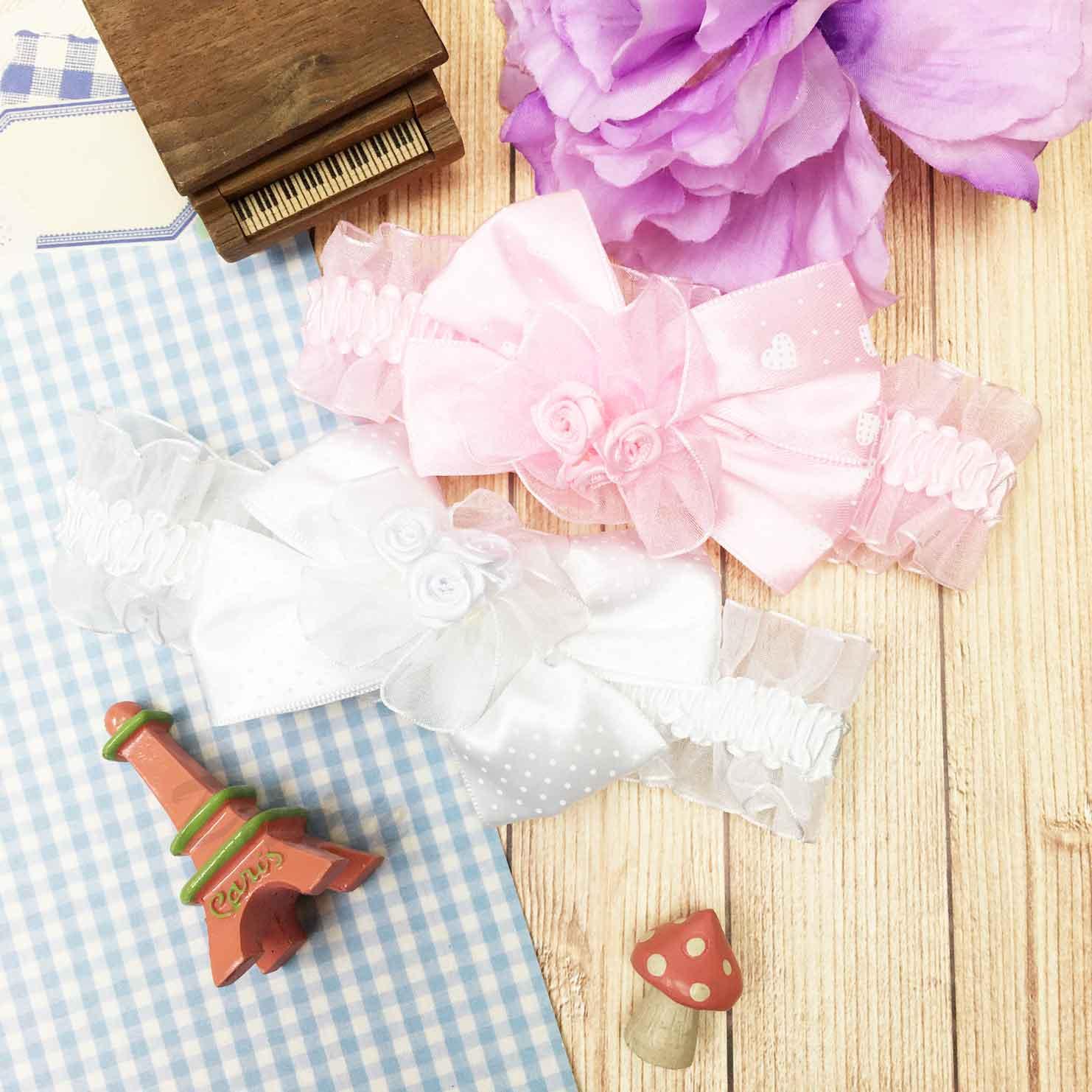 可愛 網紗 點點緞帶蝴蝶結 玫瑰花髮帶 兒童髮飾
