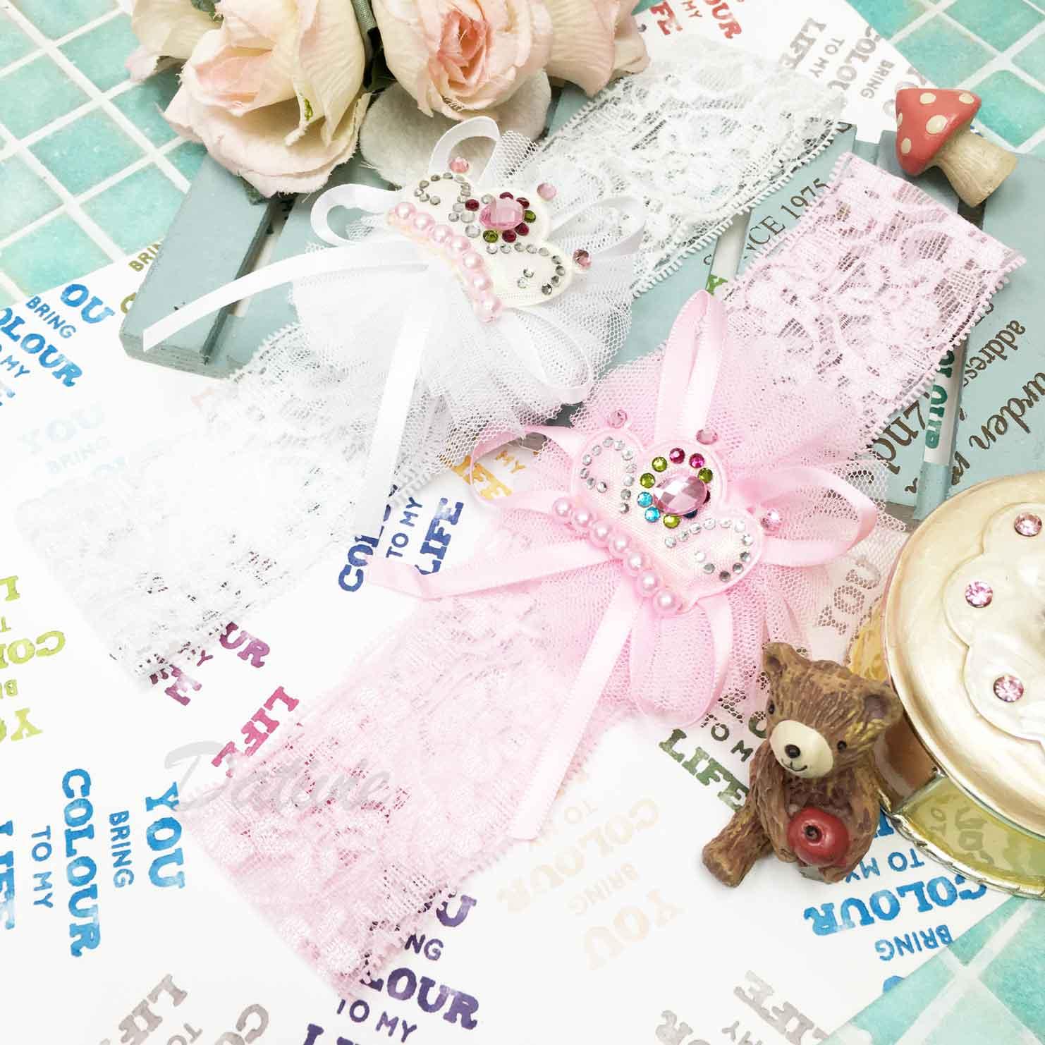 蕾絲 夢幻 皇冠網紗 珍珠水鑽 蝴蝶結 髮帶 兒童髮飾