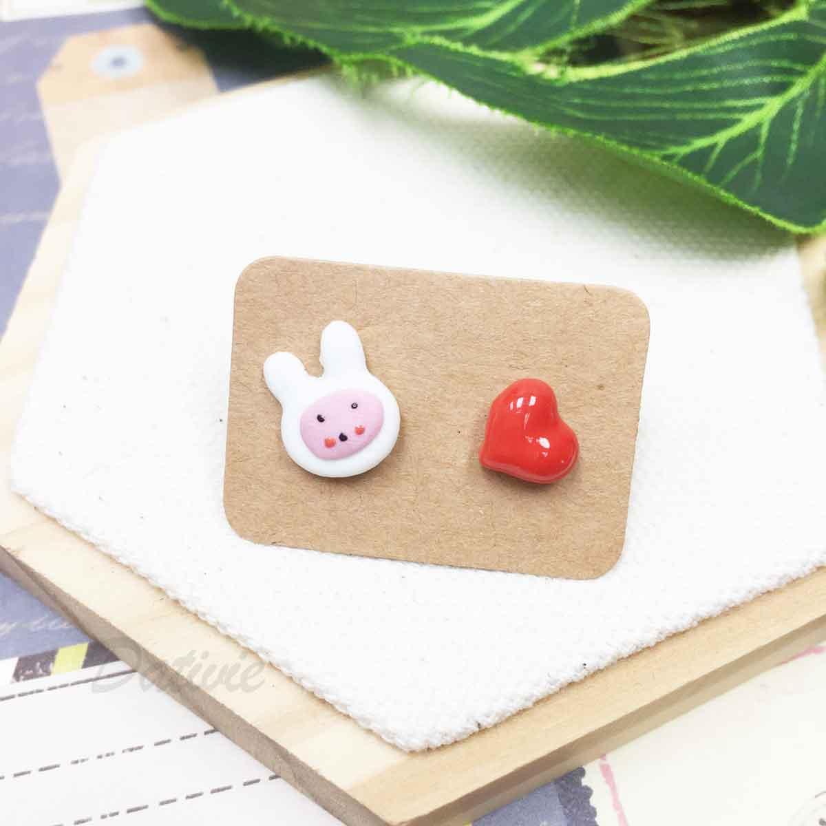 不鏽鋼 兔子 紅色愛心 心型 不對稱 耳針式耳環