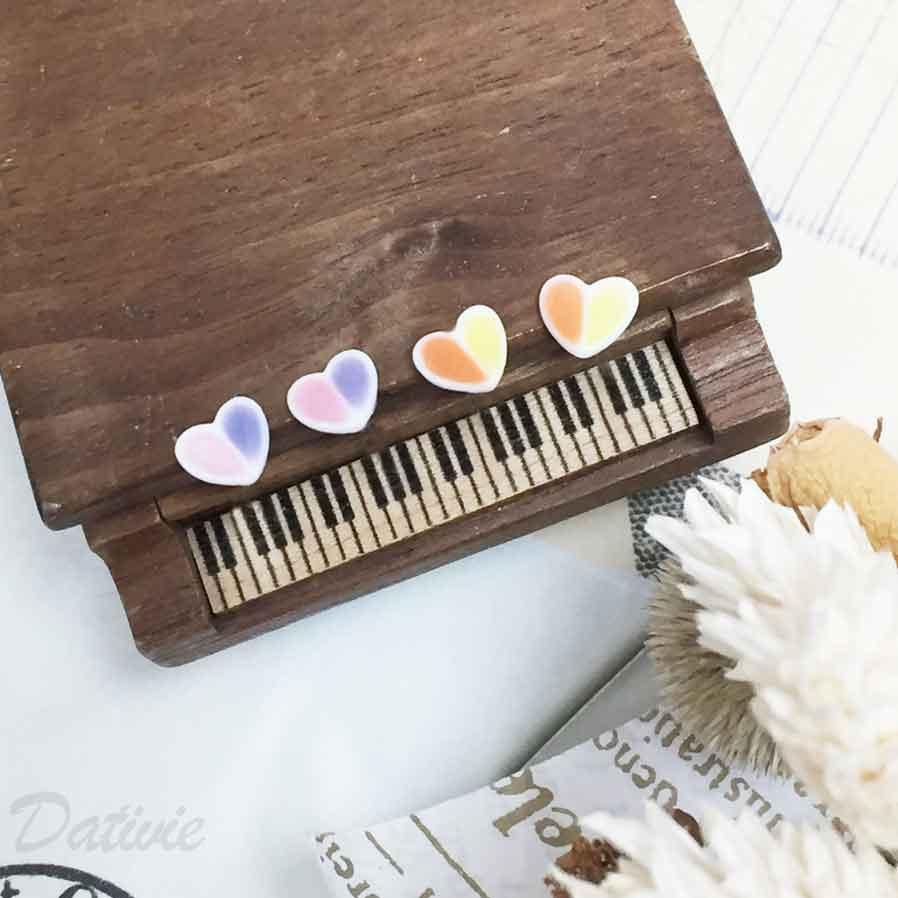 不鏽鋼 愛心 撞色 黃橘 粉紫 可愛甜美款 耳針式耳環