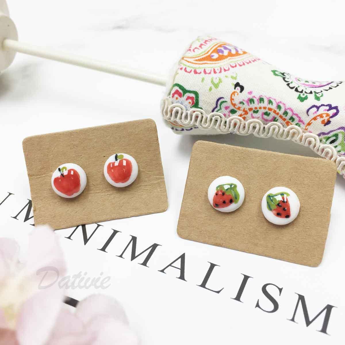 不鏽鋼 水果 蘋果 草莓 耳針式耳環