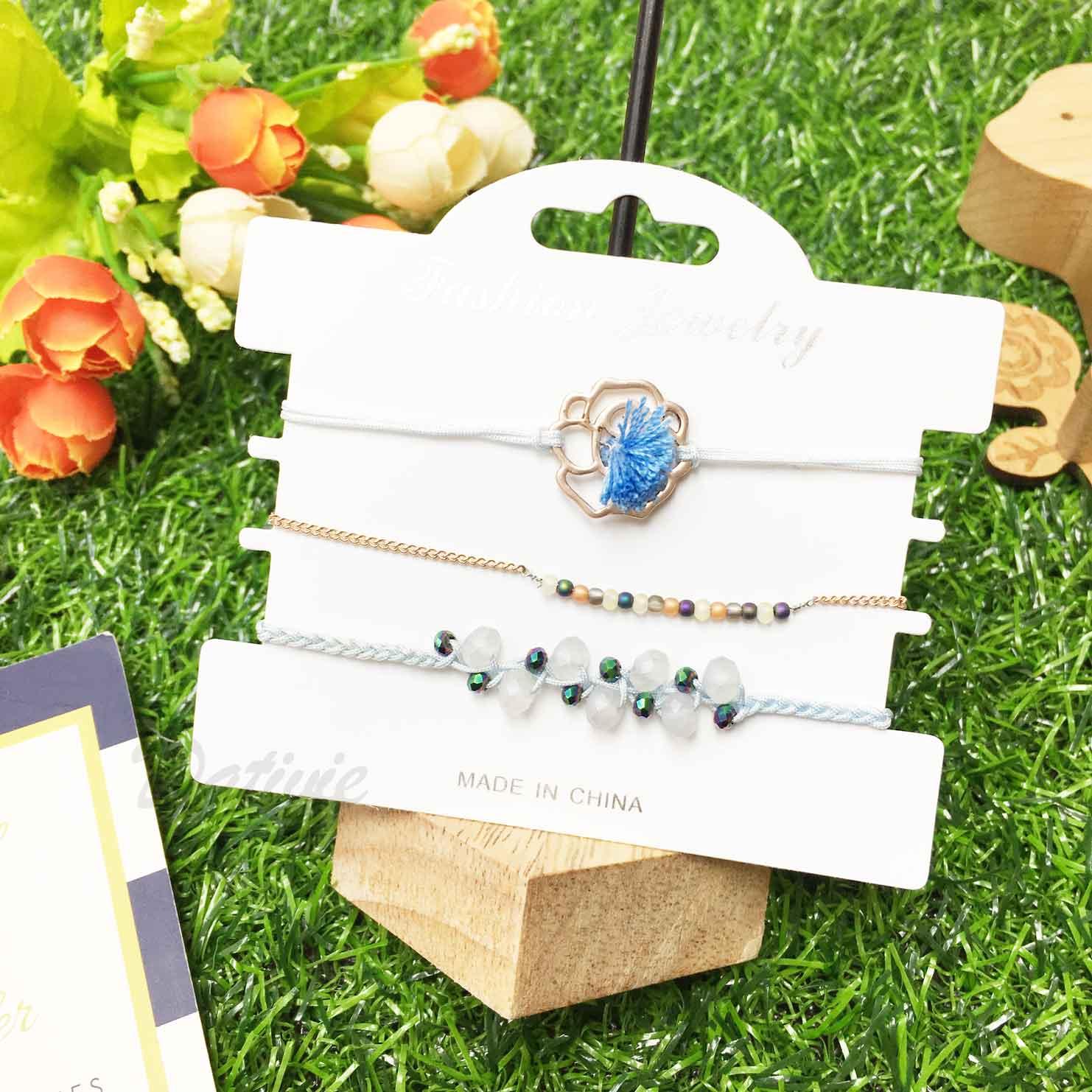 花 玫瑰金 串珠 流蘇 水晶 淺藍色 編織 3入組 細繩 手繩 手鍊