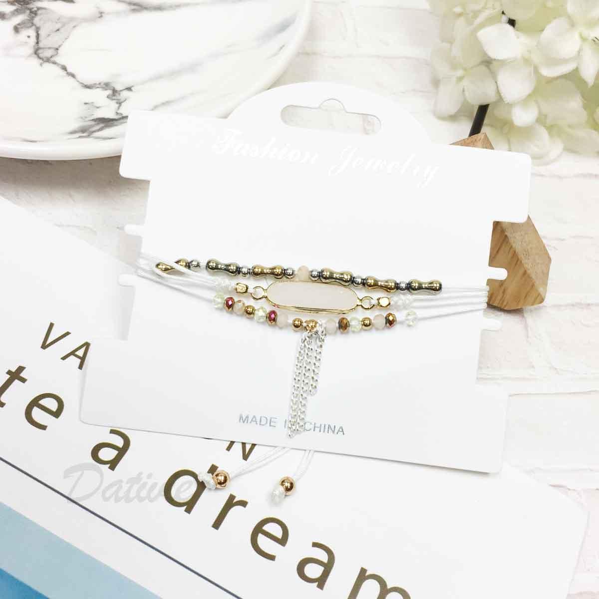 寶石 水晶 串珠 流蘇 小金珠 白色 編織 3入組 細繩 手繩 手鍊