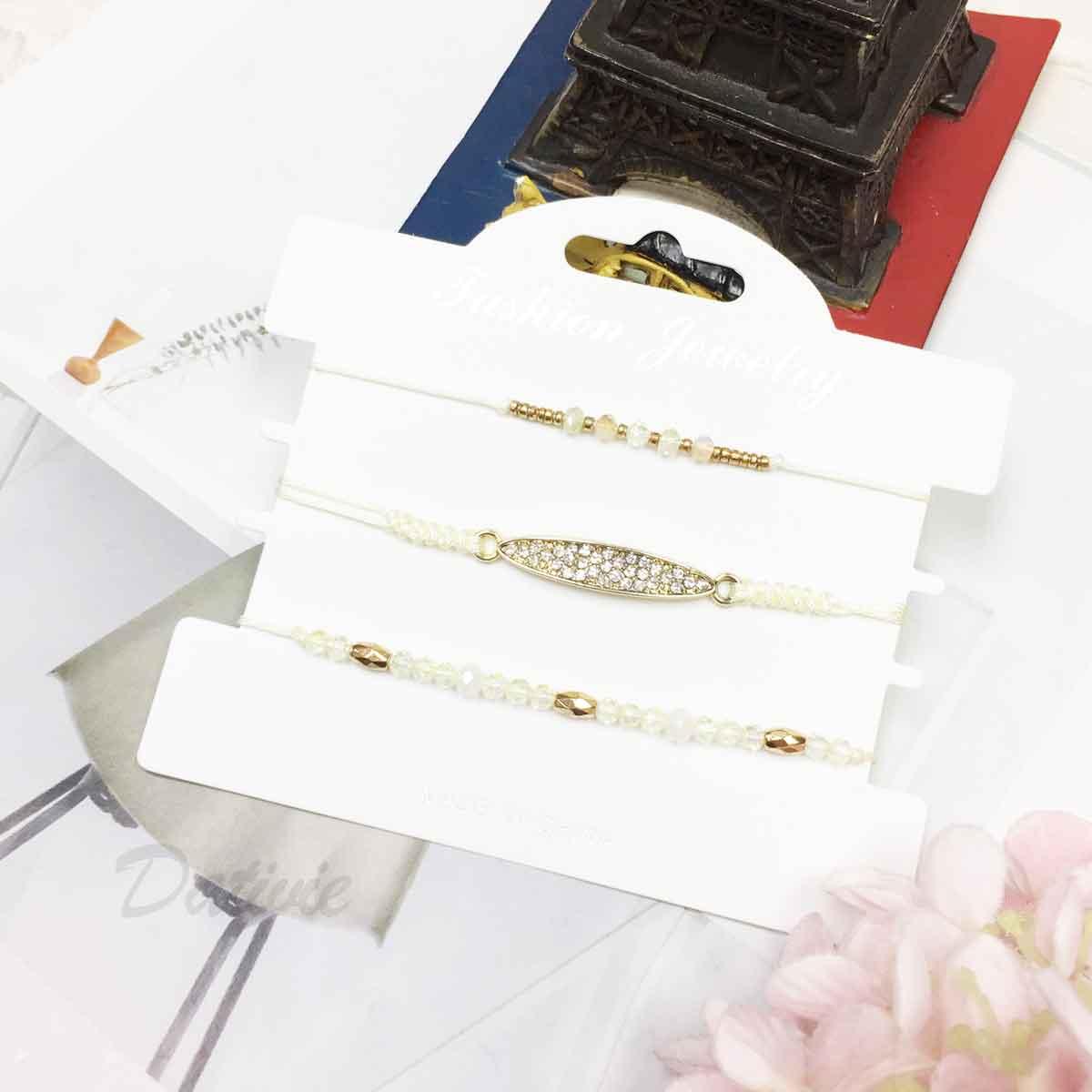 水鑽 長圓型吊牌 水晶 串珠 小金珠 米黃色 編織 3入組 細繩 手繩 手鍊