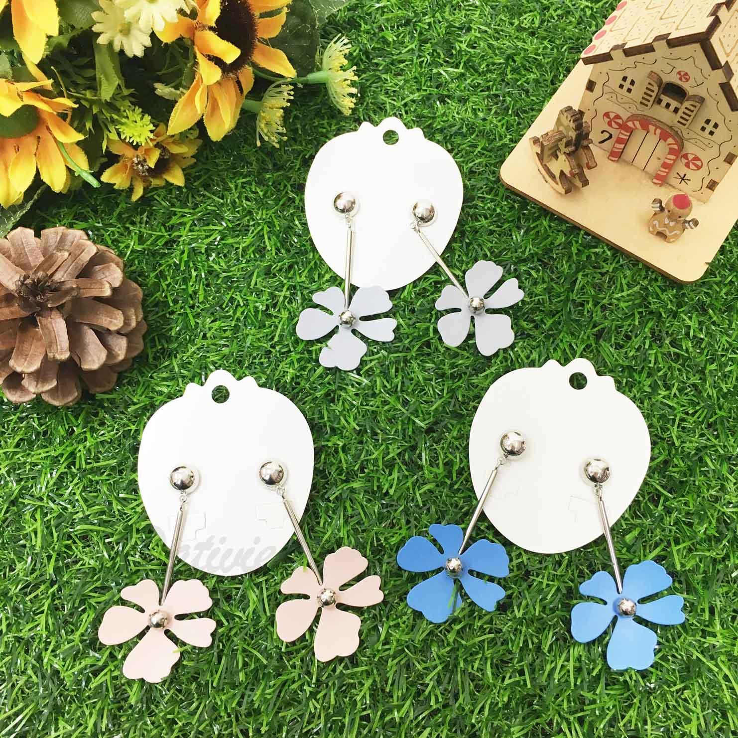 花朵 花辮 大小銀珠 甜美款 3色 垂墜感 耳針式耳環