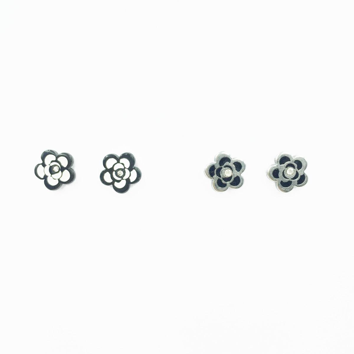 韓國 不鏽鋼 花圖型 閃耀單鑽 甜美風 銀色 黑色 2色 後轉式耳環
