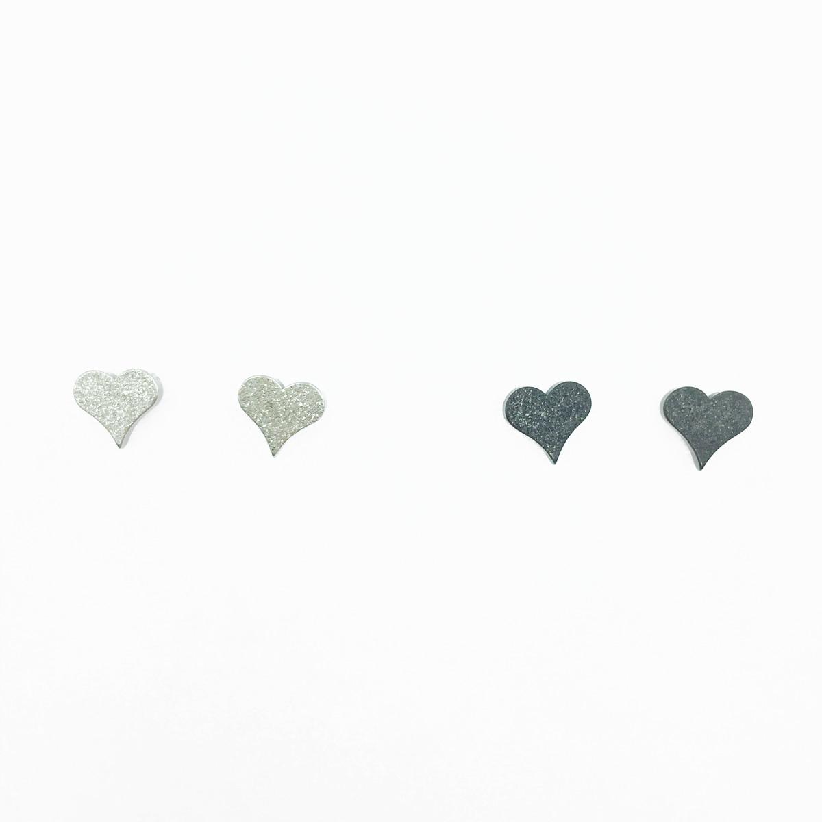 韓國 不鏽鋼 愛心 可愛甜美風 歐美簡約款 銀色 黑色 2色 後轉式耳環
