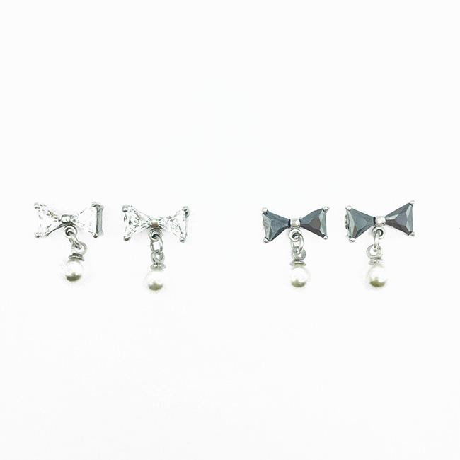 韓國 不鏽鋼 蝴蝶結 水鑽 爪鑽 珍珠 2色 氣質甜美風 垂墜感 後轉式耳環