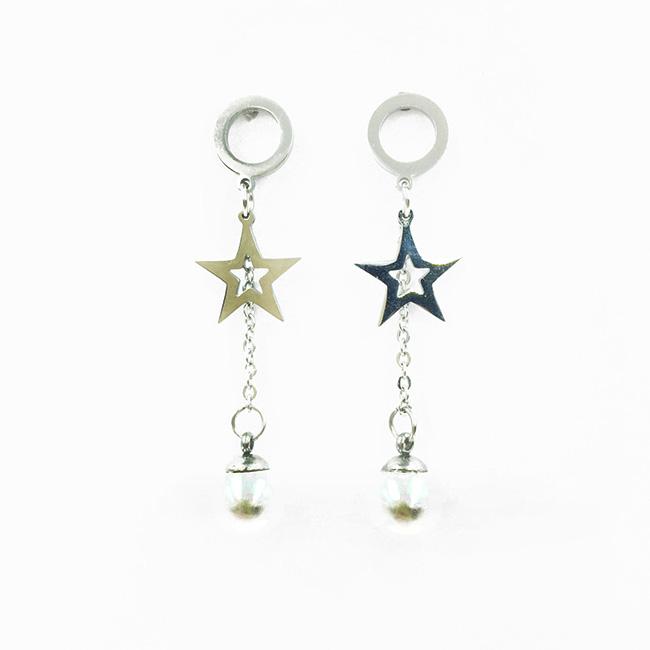 韓國 不鏽鋼 圓圈 星星 簍空 珍珠 垂墜感 後轉式耳環