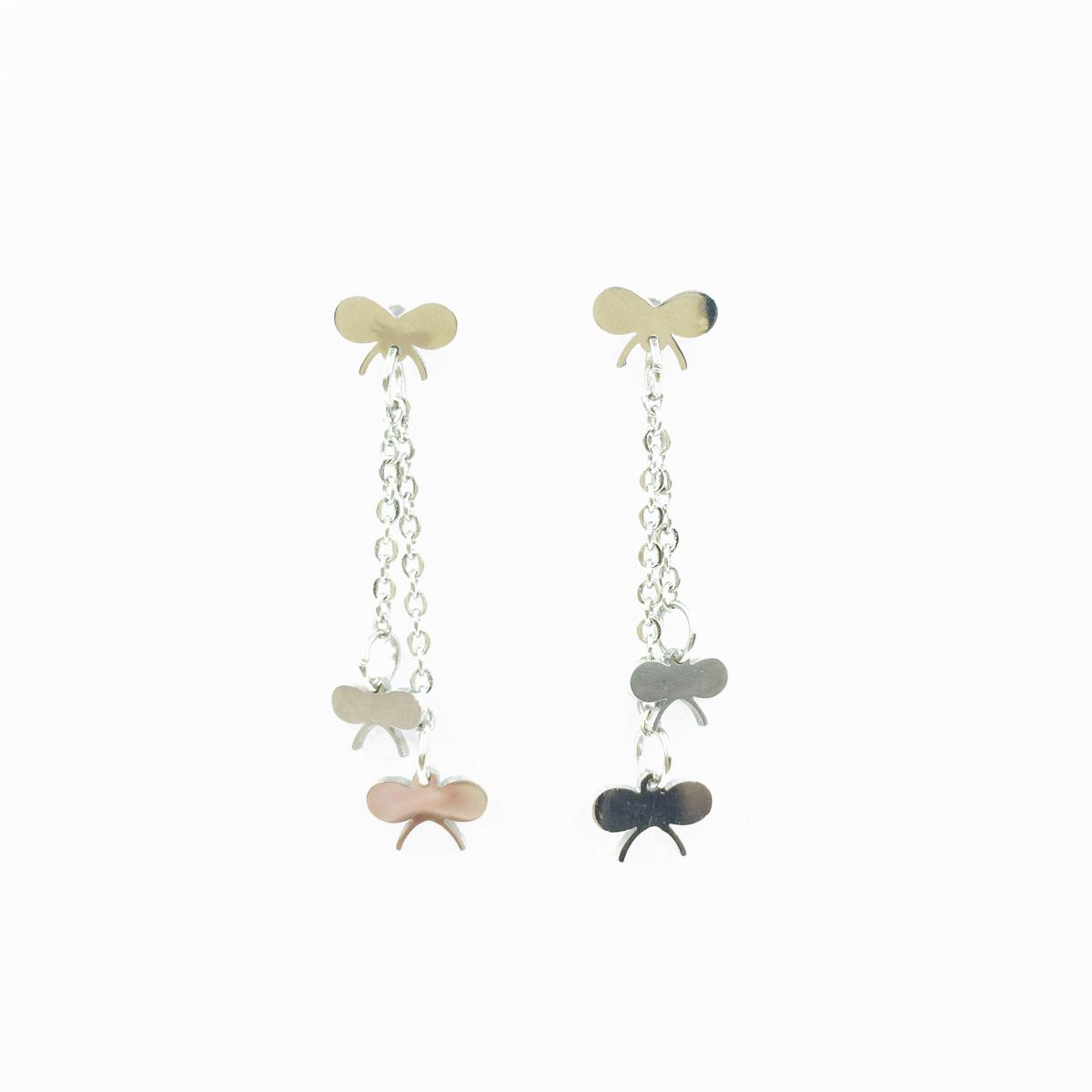 韓國 不鏽鋼 蝴蝶造型 蝴蝶鍊 金屬風 垂墜感 後轉式耳環
