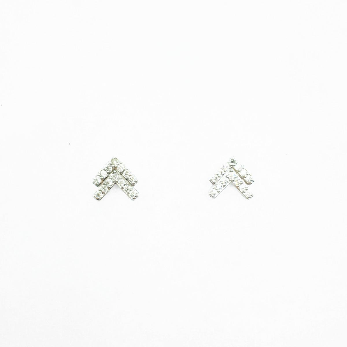 韓國 不鏽鋼 箭頭 重疊 水鑽 簡約風 日常百搭款 精緻耳針式耳環