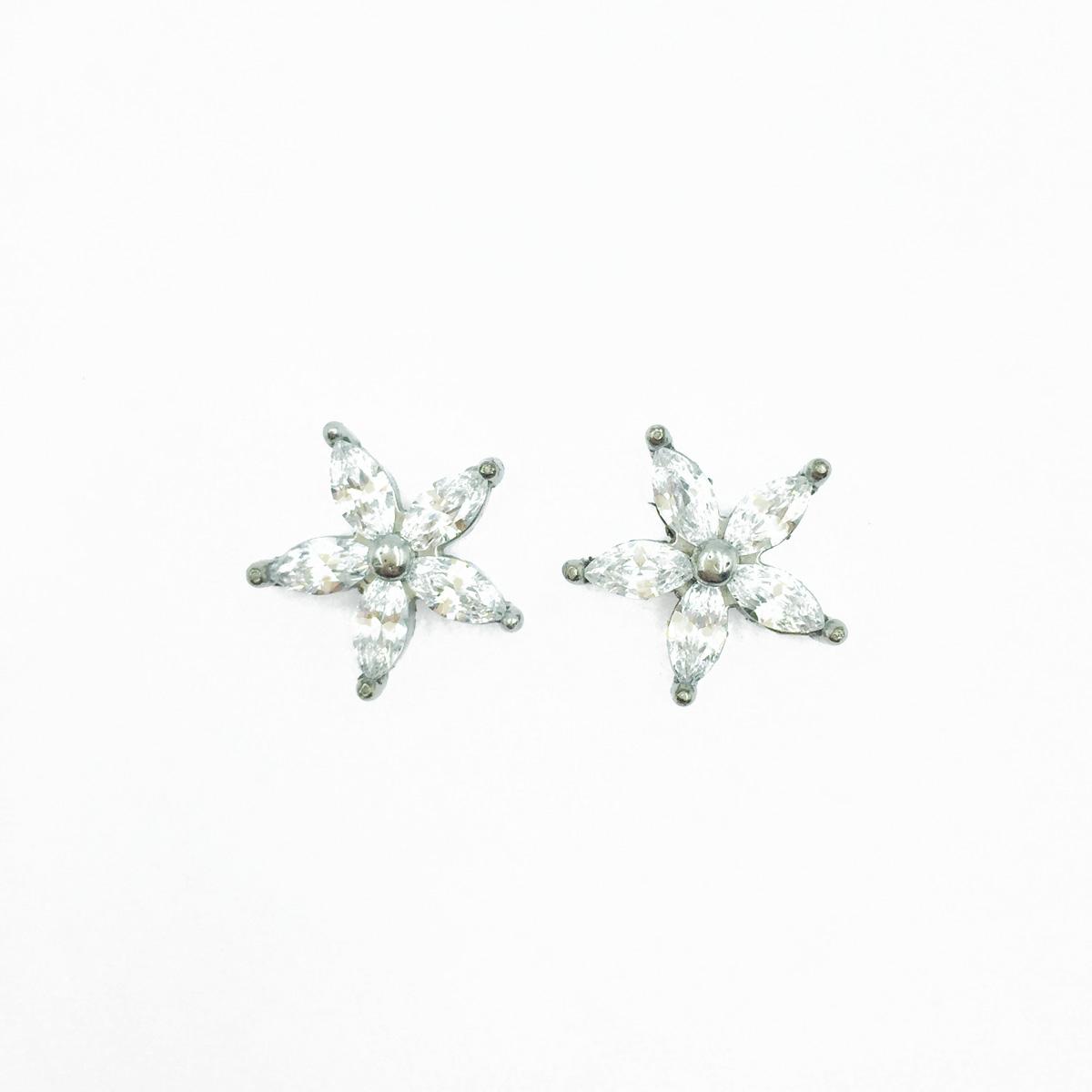 韓國 不鏽鋼 水鑽花 爪鑽 閃耀 甜美簡約風 後轉耳針式耳環