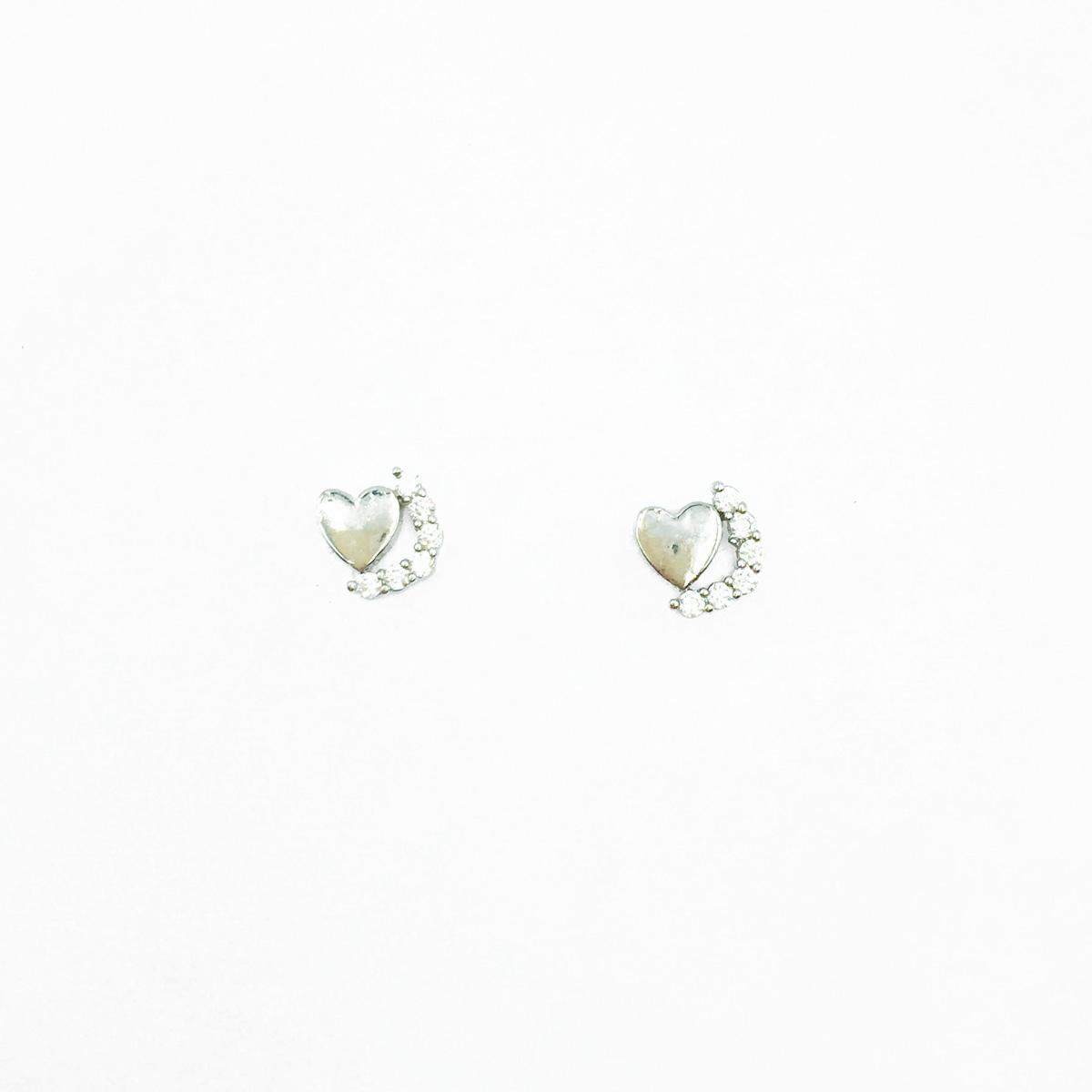 韓國 不鏽鋼 愛心 水鑽 可愛甜美款 精緻耳針式耳環