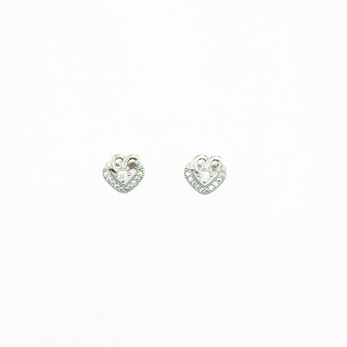 韓國 不鏽鋼 愛心 水鑽 簍空 可愛甜美款 後轉耳針式耳環