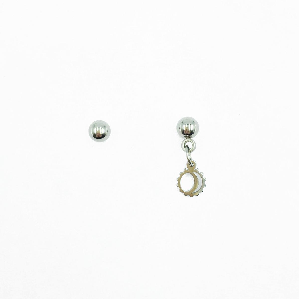 韓國 不鏽鋼 鋸齒圓圈 簍空 小銀珠 垂墜感 後轉耳針式耳環