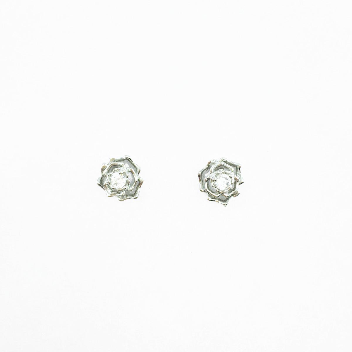 韓國 不鏽鋼 水鑽 花 簍空 層次感 優雅款 後轉耳針式耳環