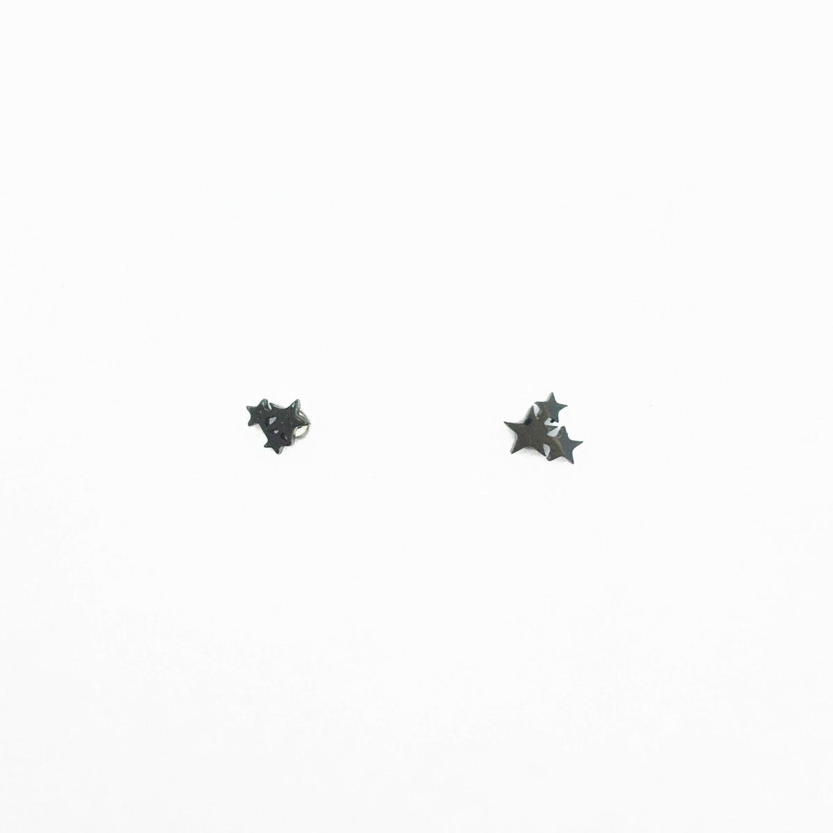 韓國 不鏽鋼 星星 不對稱 黑色 個性百搭款 後轉耳針式耳環