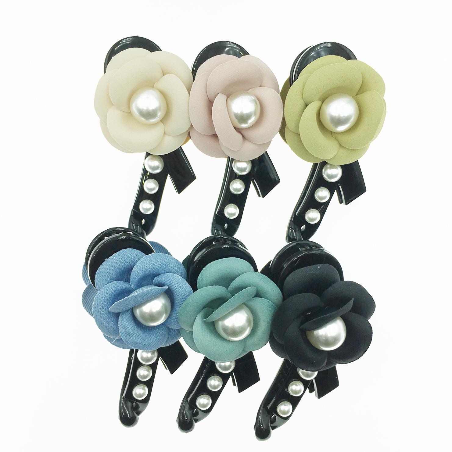 韓國 珍珠花造型 基本百搭款 甜美風 6色 髮飾 相交夾