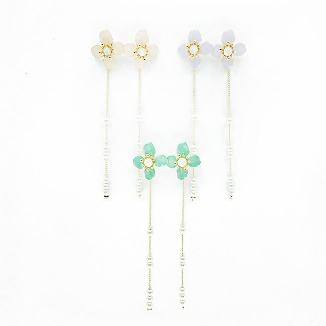 韓國 花朵造型 珍珠鍊 甜美氣質風 3色 垂墜感耳針式耳環