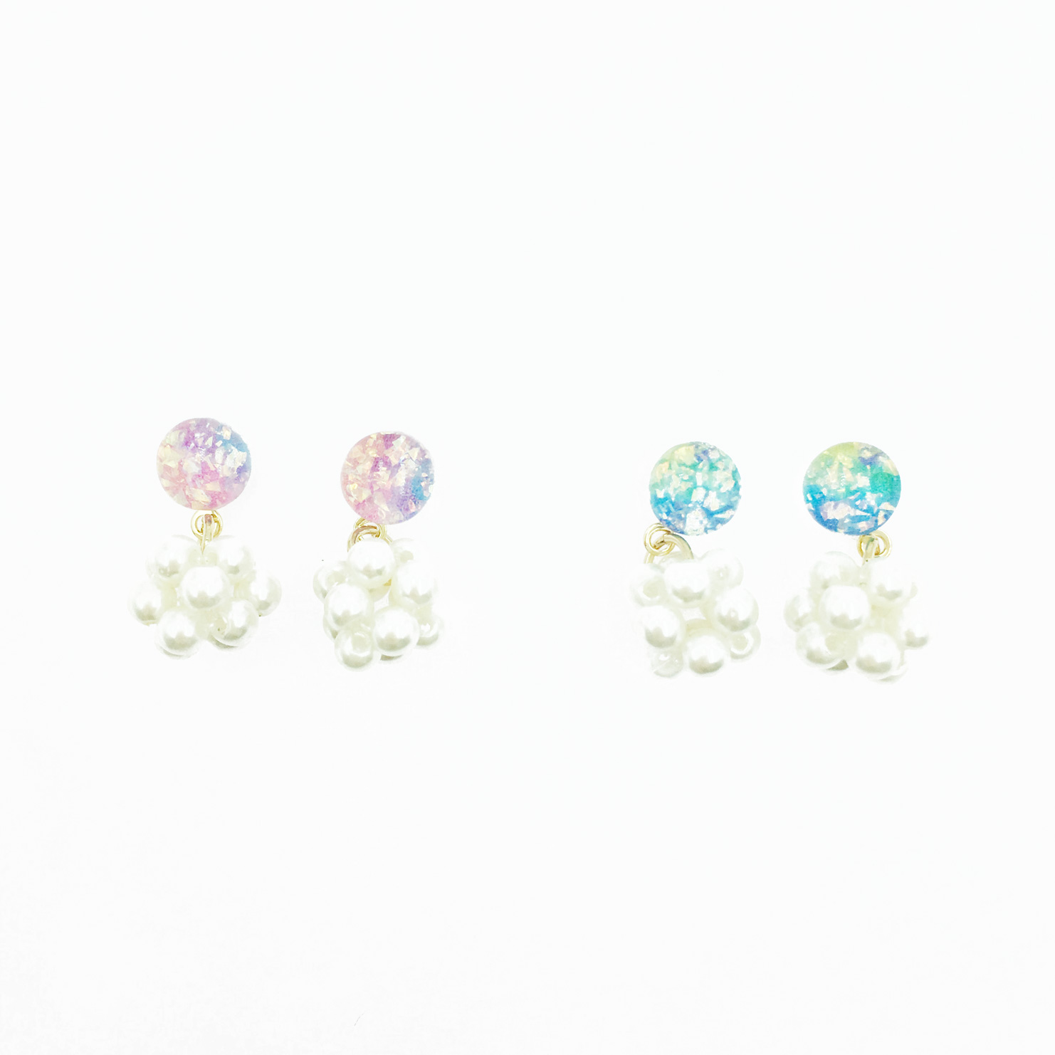 韓國 珍珠 立體球 亮彩透明圓 2色 垂墜感耳針式耳環