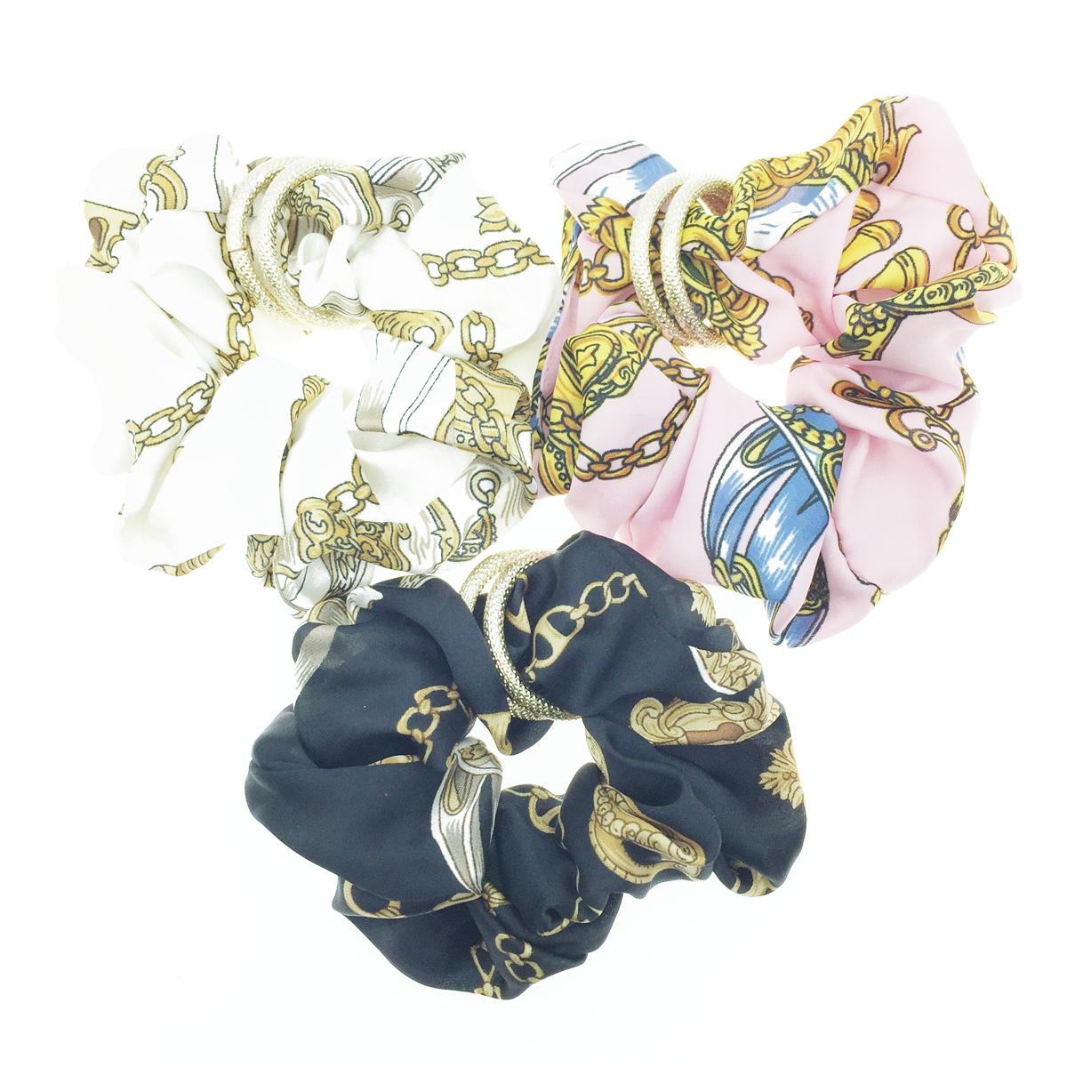 韓國 金色雙環圈 鏈鎖圖騰 3色 髮飾 髮圈 髮束 大腸圈