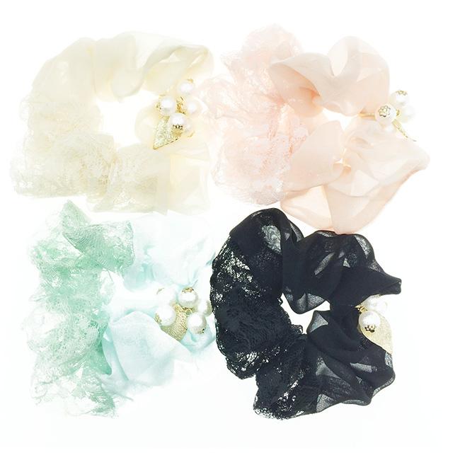 韓國 蕾絲 珍珠 金色葉子 氣質款 4色 髮飾 髮圈 髮束 大腸圈