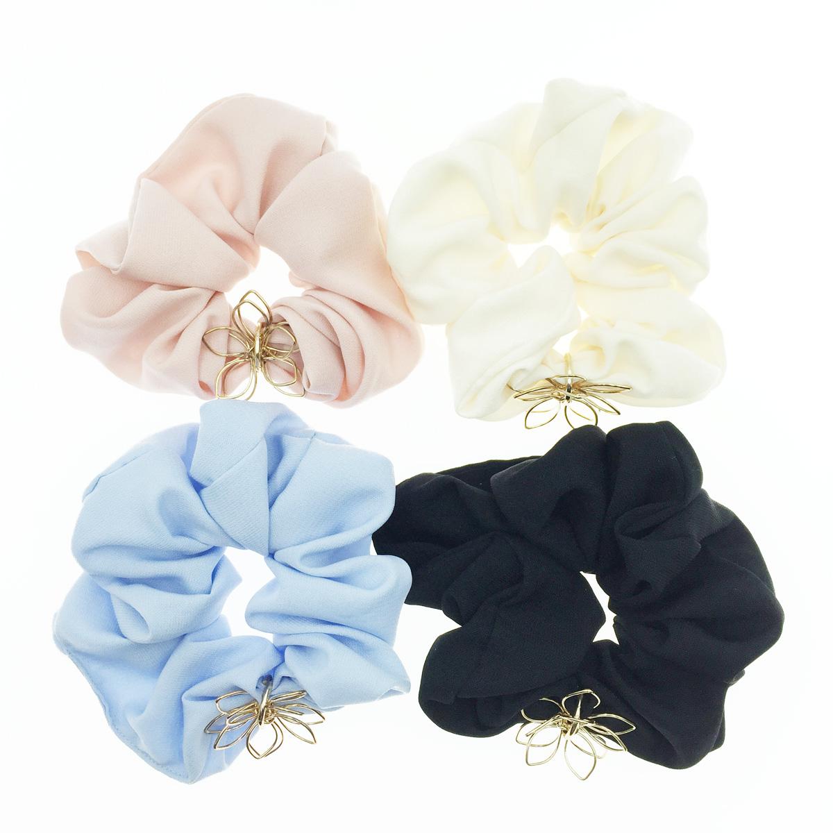 韓國 金簍空花瓣 花造型 素色 4色 髮飾 髮圈 髮束 大腸圈