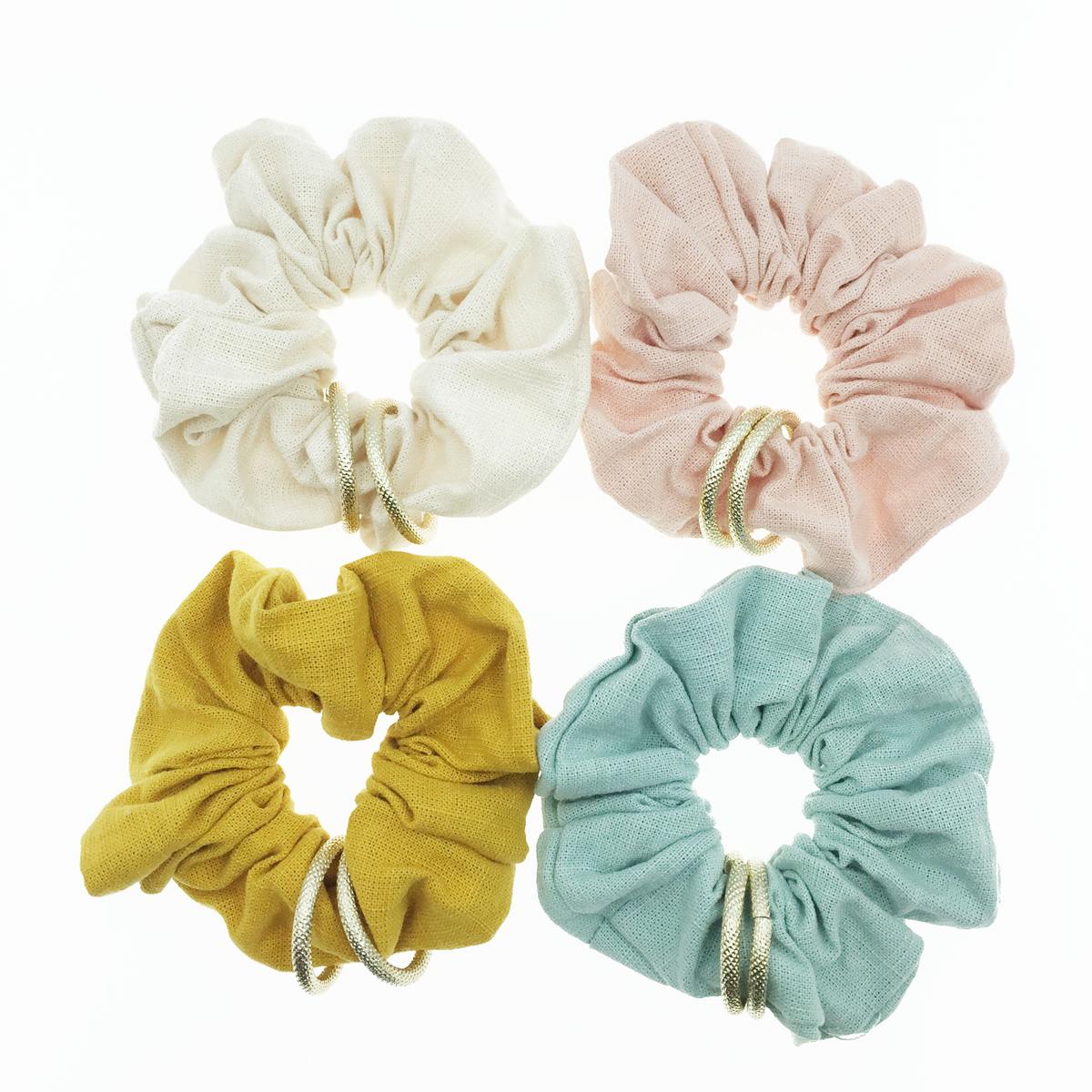 韓國 雙金環圈 素面素色 百搭 4色 髮飾 髮圈 髮束 大腸圈