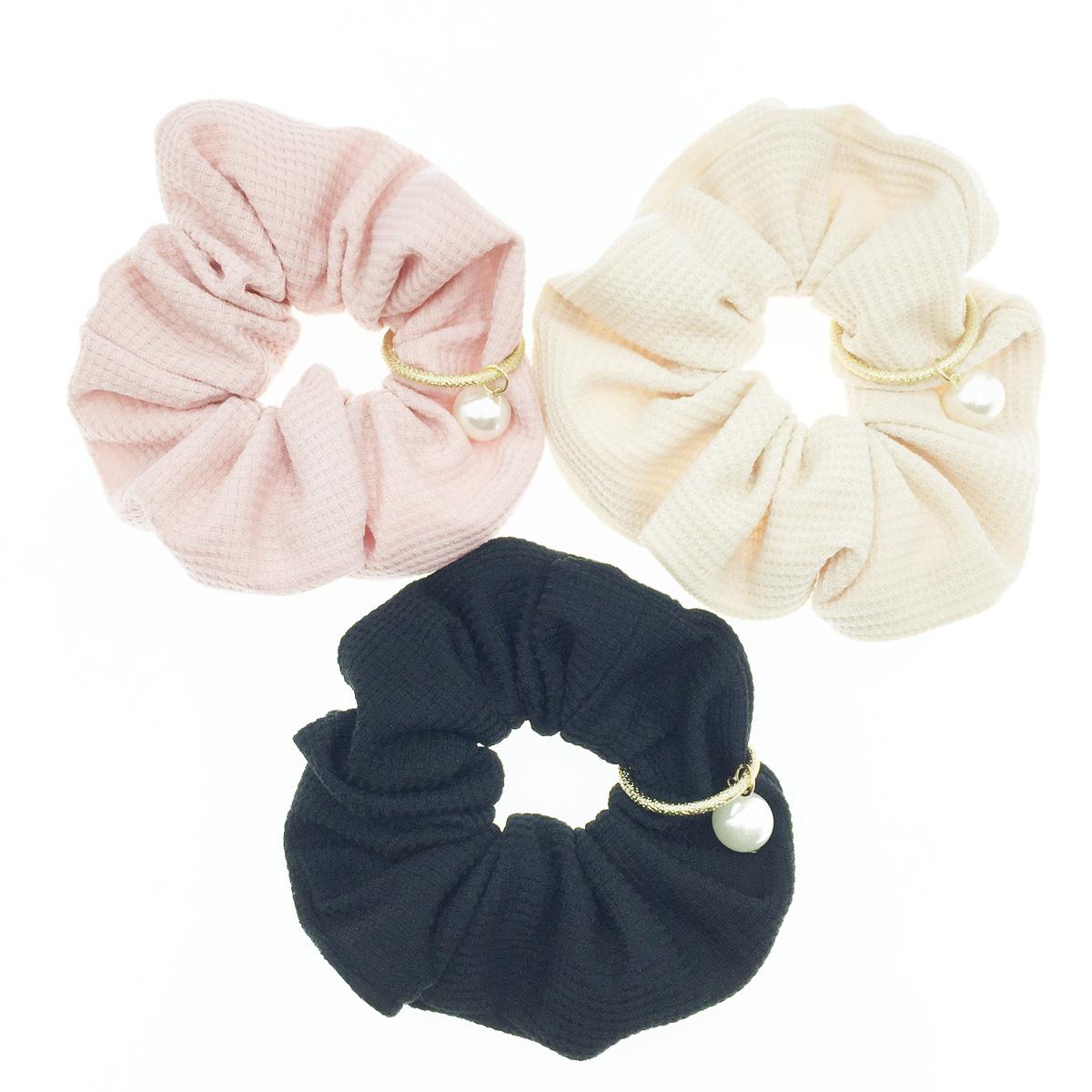 韓國 編織螺紋 珍珠 金環圈 素色 基本款 3色 髮飾 髮圈 髮束 大腸圈