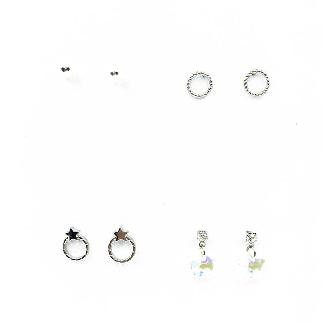 韓國 珍珠 垂墜星星水晶 水鑽 金屬 4入組 質感 耳針式耳環