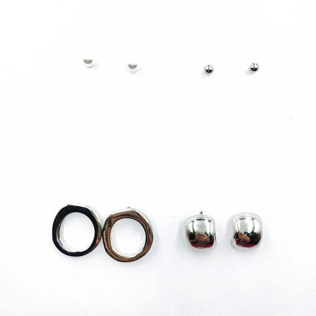 韓國 歐美金屬風 珍珠 簡約款 4入組 質感 耳針式耳環