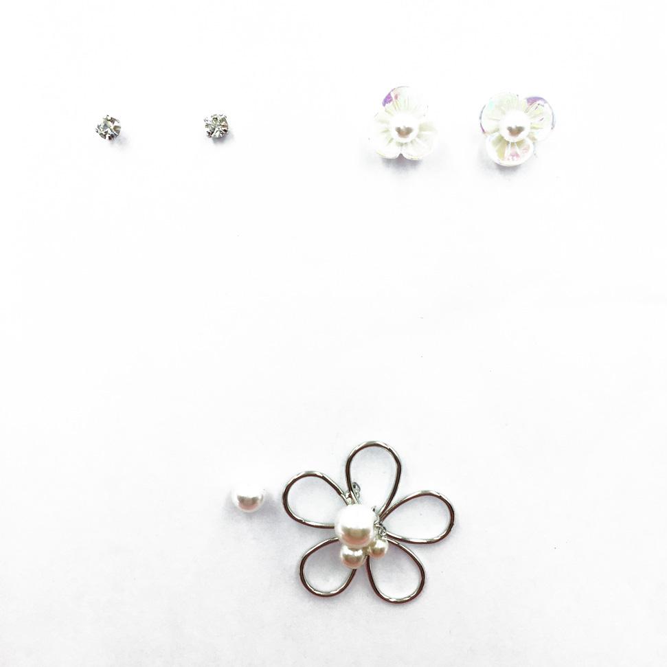 韓國 閃耀單鑽 珍珠花 金屬花瓣 3入組 質感 耳針式耳環