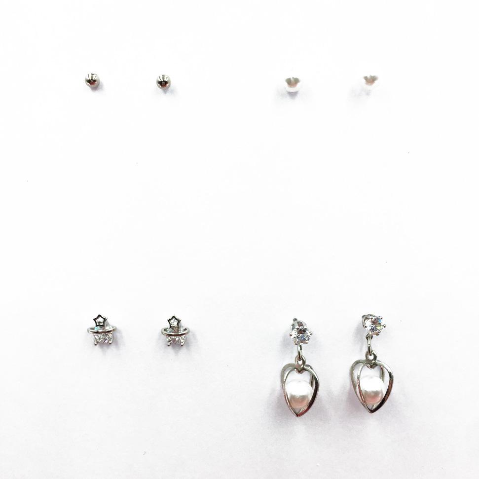 韓國 氣質珍珠 星星 水鑽 簍空金屬愛心 4入組 質感 耳針式耳環