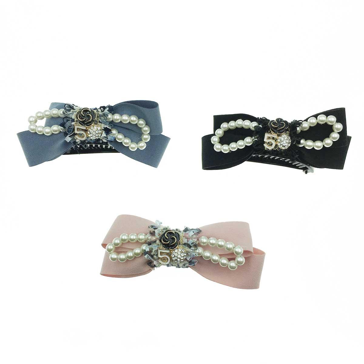 韓國 春季款 華麗小香風 抽鬚 碎花布 珍珠素色質感馬尾夾