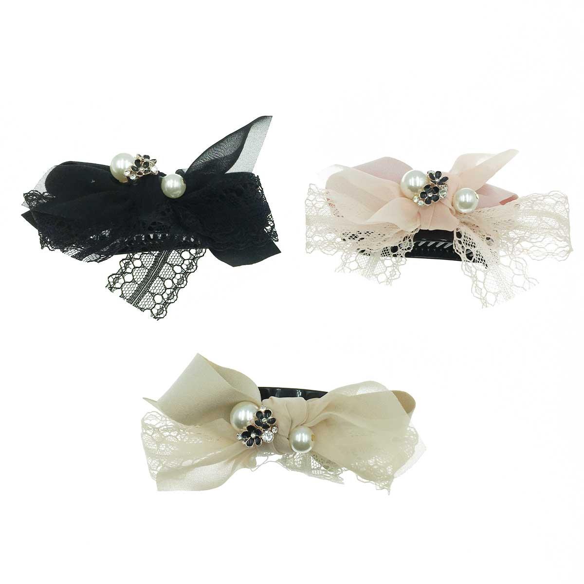 韓國 公主風 質感素面 蕾絲造型 珍珠質感馬尾夾