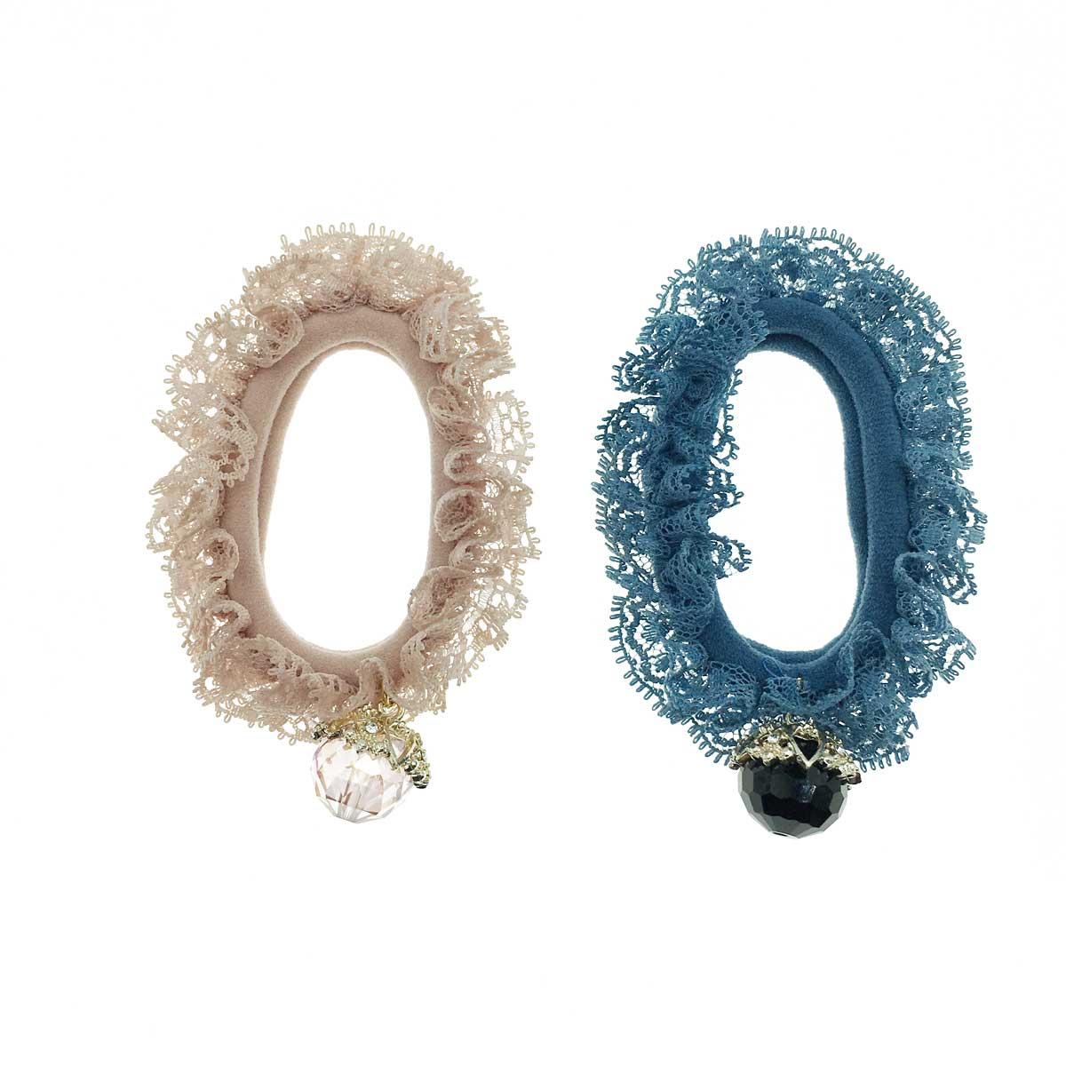 韓國 金邊造型水晶球 蕾絲質感造型 百搭素面華麗髮束